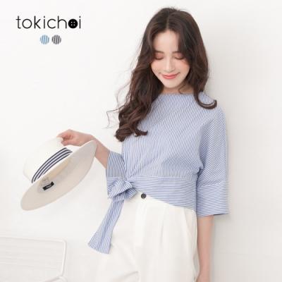 東京著衣 可愛海軍風直條紋側綁帶短版上衣-S.M(共二色)