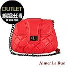 [福利品]Aimer La Rue 菱格轉釦鏈條側背包(紅色)(絕版出清)
