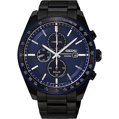 SEIKO 精工Criteria太陽能計時手錶SSC731P1-藍X黑/44mm