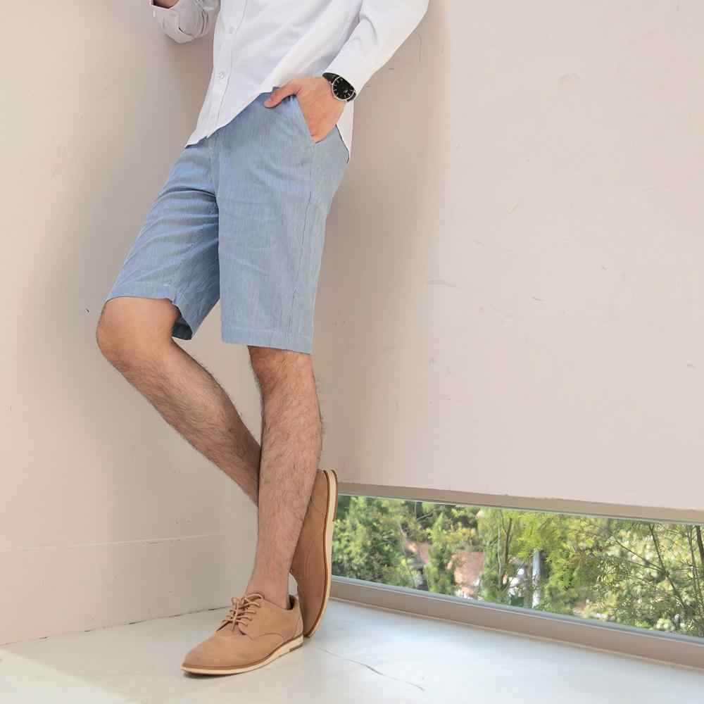 簡約條紋休閒短褲-OB大尺碼 product image 1
