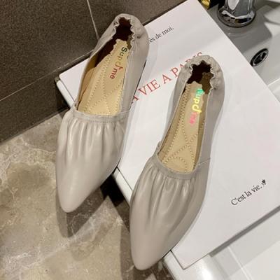 KEITH-WILL時尚鞋館 狂賣千雙好感印象百搭鬆緊尖頭鞋-米