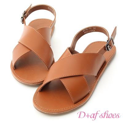 D+AF 隨性自在.寬版交叉平底涼鞋*棕