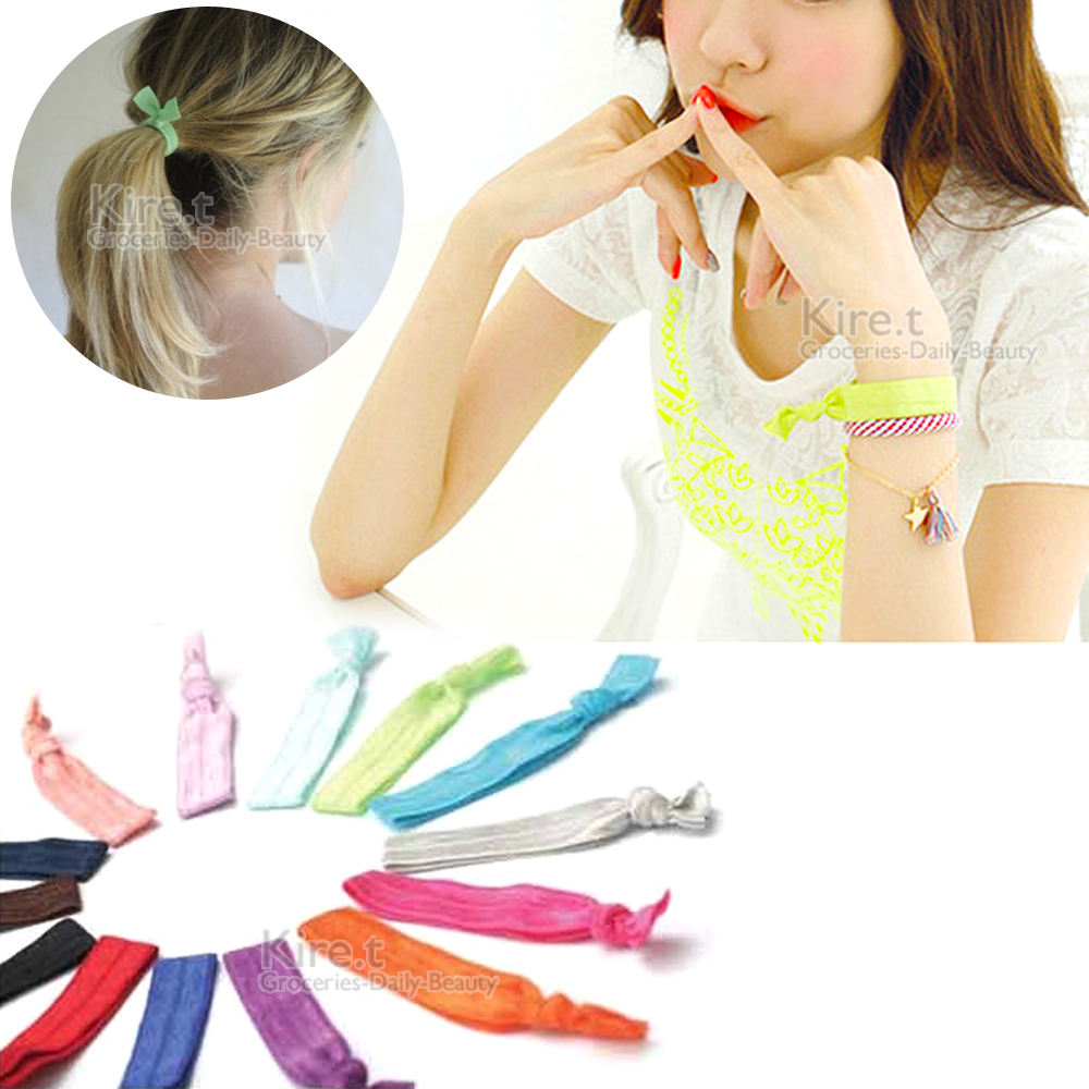 kiret緞帶手環髮繩/綁髮束/橡皮筋 超值10入贈毛絨髮圈 @ Y!購物