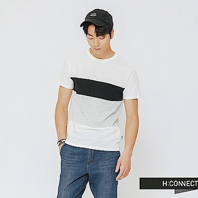 H:CONNECT 韓國品牌 男裝-寬條配色T-shirt-黑