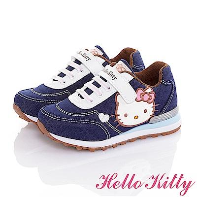 HelloKitty 牛仔布系列 輕量減壓抗菌防臭休閒慢跑童鞋-藍