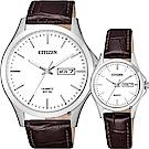 CITIZEN 星辰 簡約石英對錶-白x咖啡/40+27mm