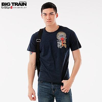 Big Train 加大龍城烽火圓領短袖-男-深藍