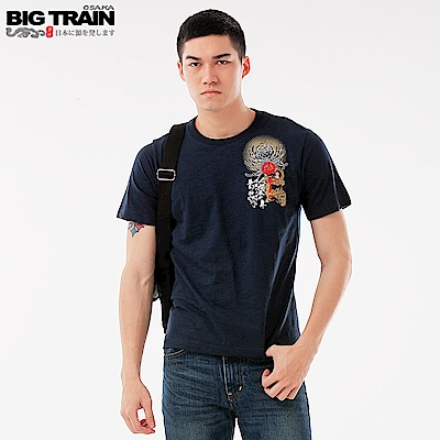 Big Train 龍城烽火圓領短袖-男-深藍