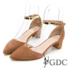 GDC-歐美質感羊絨高貴金屬繞踝中空尖頭粗跟涼鞋-卡其色