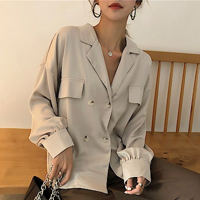 La Belleza素色雙翻領四釦假口袋燈籠袖西裝外套