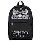 KENZO Tiger Canvas 品牌Logo刺繡老虎圖騰帆布後背包 黑色