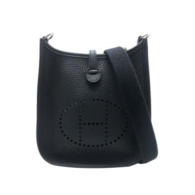HERMES Mini Evelyne TPM系列荔枝紋小牛皮鏤空洞H LOGO肩背包(黑)