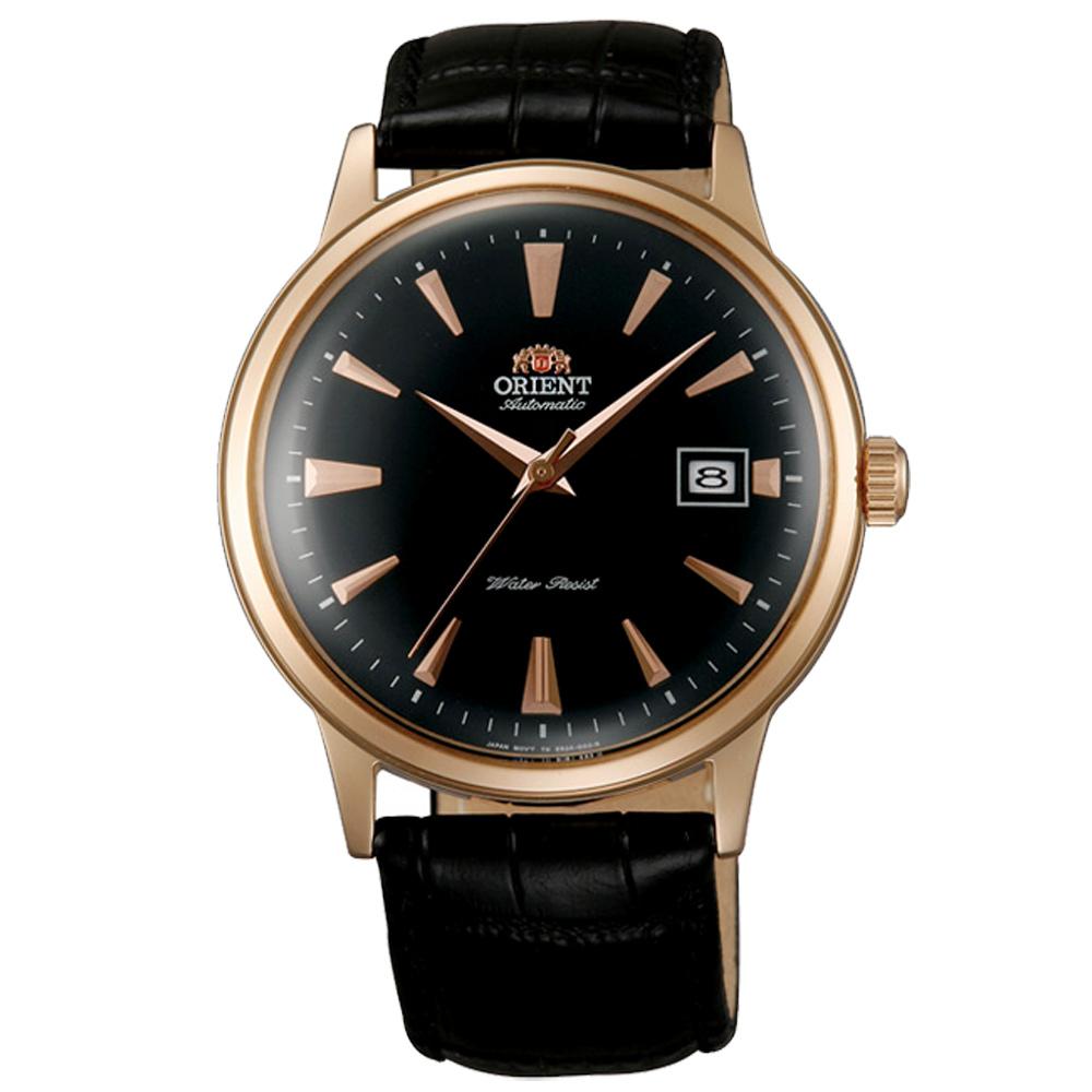 ORIENT 東方 DATEⅡ 簡約真皮機械手錶FAC00001B-黑X金/40mm