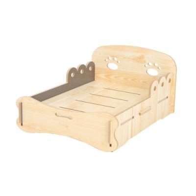 寵愛有家-貓犬夏季可拆洗木製寵物專用床(寵物用品)