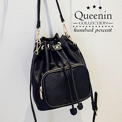 DF Queenin日韓 - 日系輕休閒束口尼龍水桶包