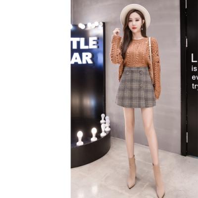 2F韓衣-雙排扣格紋造型短裙-秒