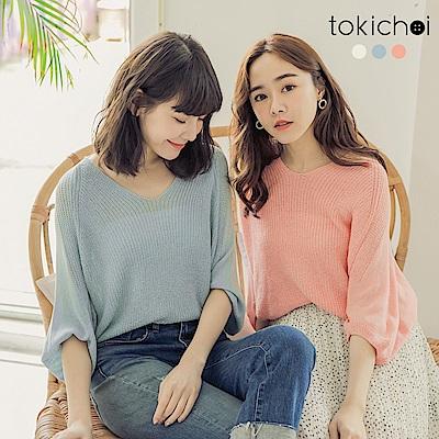 東京著衣-清甜優雅多色V領飛鼠袖上衣-(共三色)