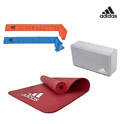 Adidas 瑜伽三件組(拉力帶-2入+運動墊-紅7mm+瑜珈磚) @ Y!購物