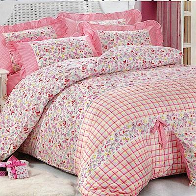 花葉情緣 柔絲絨雙人四件式兩用被床包組