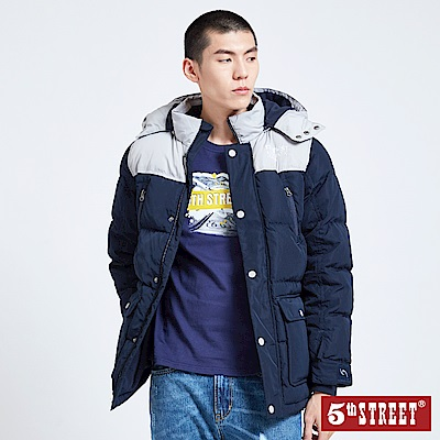 5th STREET 撞色羽絨中長版連帽外套-男-丈青色