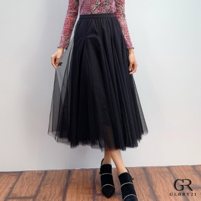 GLORY21 波浪蓬紗八片裙_黑
