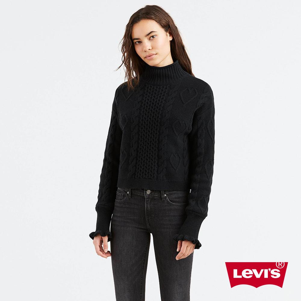 Levis 女款 毛衣 愛心針織 荷葉邊袖口 黑色