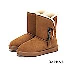 達芙妮DAPHNE 短靴-原色長毛內裡佐流蘇厚底短靴-棕