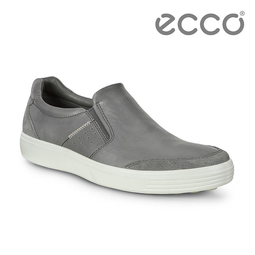 ECCO SOFT 7 M 經典簡約套入式休閒鞋 男-灰