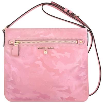 MICHAEL KORS Nylon Kelsey 專櫃款迷彩輕量尼龍方形斜背包(粉紅色)