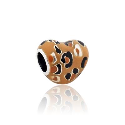 Pandora 潘朵拉 豹紋琺瑯愛心 純銀墜飾 串珠