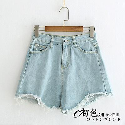 個性釘珠牛仔短褲-藍色(M-XL可選)     初色
