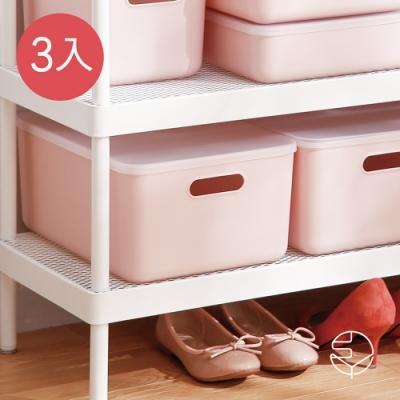 日本霜山 無印風霧面附蓋把手收納盒-櫻花粉-M-3入