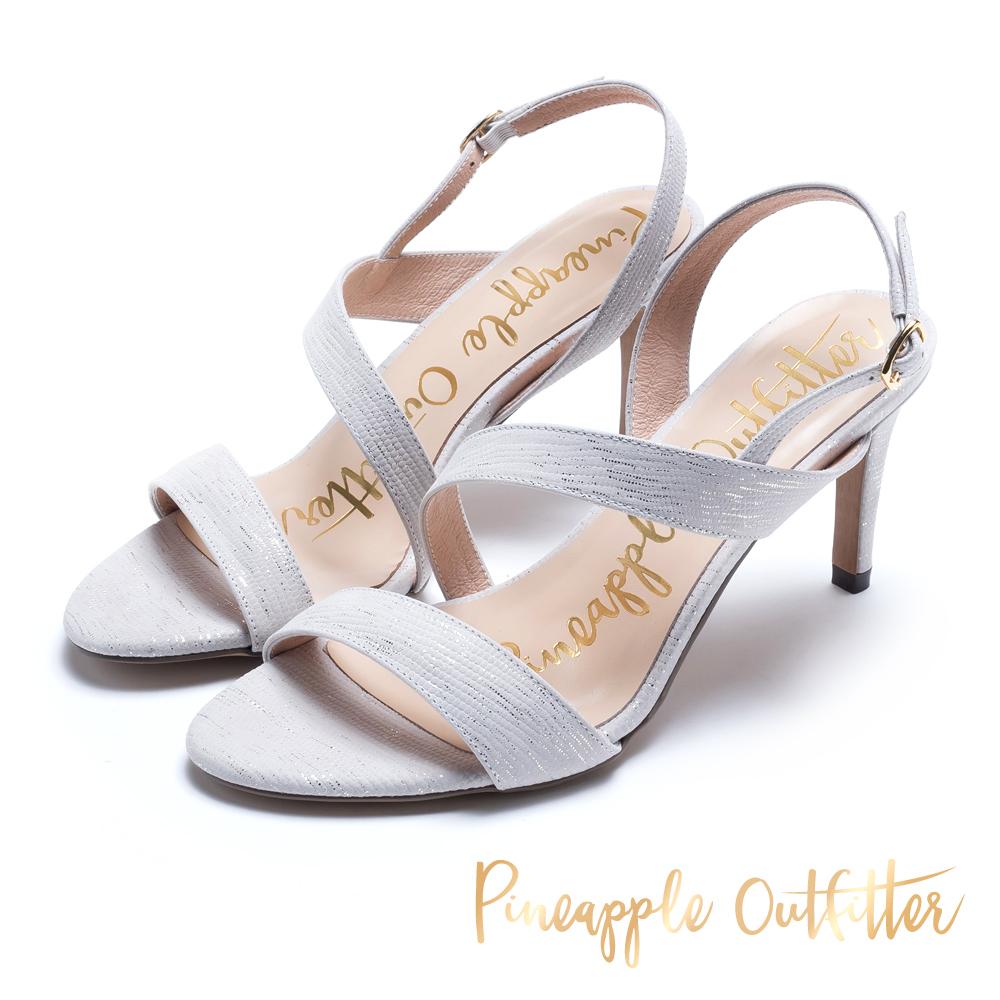 Pineapple Outfitter 美型首選 羊皮繫帶絲質高跟涼鞋-白色