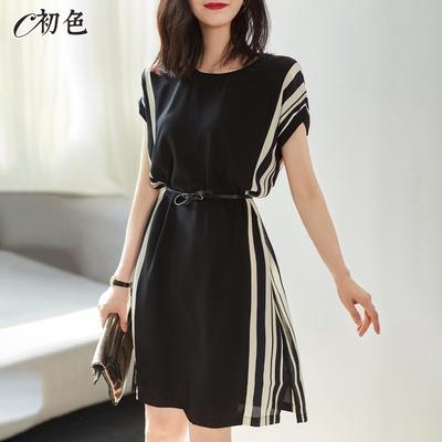 初色  拼色直紋繫帶洋裝-黑色-(M-2XL可選)