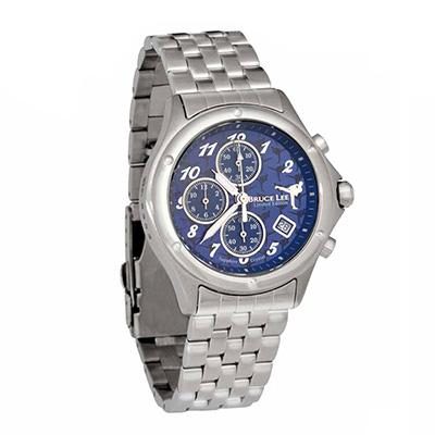 李小龍 BruseLee 截拳道限量腕錶【銀色/鋼帶/藍面】