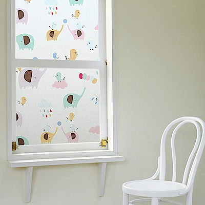 半島良品 無膠玻璃靜電貼-小象樂園45x200cm