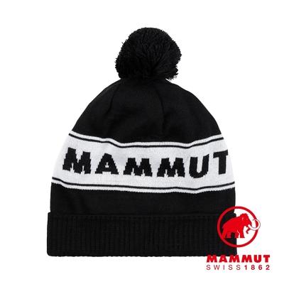 【Mammut】Peaks Beanie 保暖針織LOGO毛球羊毛帽 黑/白 #1191-01100