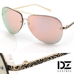 DZ 綣紋華雕鏡腳 防曬太陽眼鏡造型墨鏡(金框粉膜)