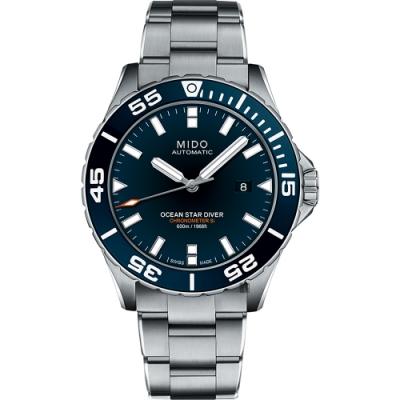 MIDO 美度 Ocean Star 海洋之星600米陶瓷潛水機械錶-藍x銀/44mm