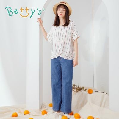 betty's貝蒂思 造型小口袋牛仔長褲(深藍)