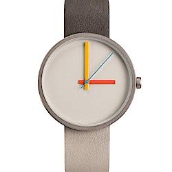 AÃRK 時尚午安城市真皮革腕錶 -灰色/38mm