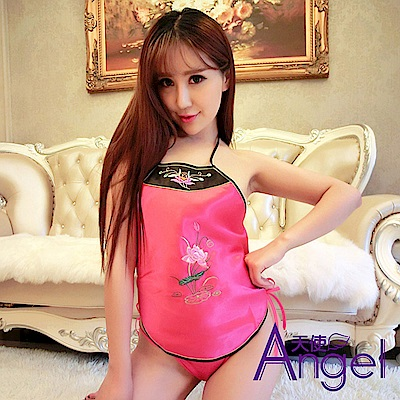 Angel天使 性感情趣肚兜套裝刺繡宮廷綁帶式露背 BP035 粉