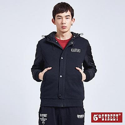 5th STREET 異素材拼袖連帽鋪棉外套-男-黑色