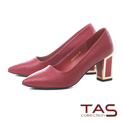 TAS三角壓紋金屬滾邊後跟尖頭高跟鞋-法式紅