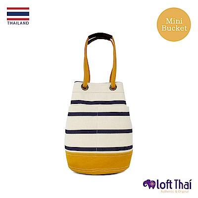 Loft THAI | 泰.兩用帆布水桶包(小) | Stripe/mustard