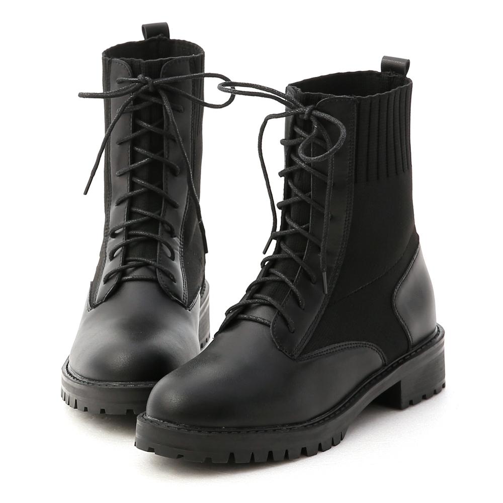 D+AF 個性boy風.針織拼接綁帶短靴*黑