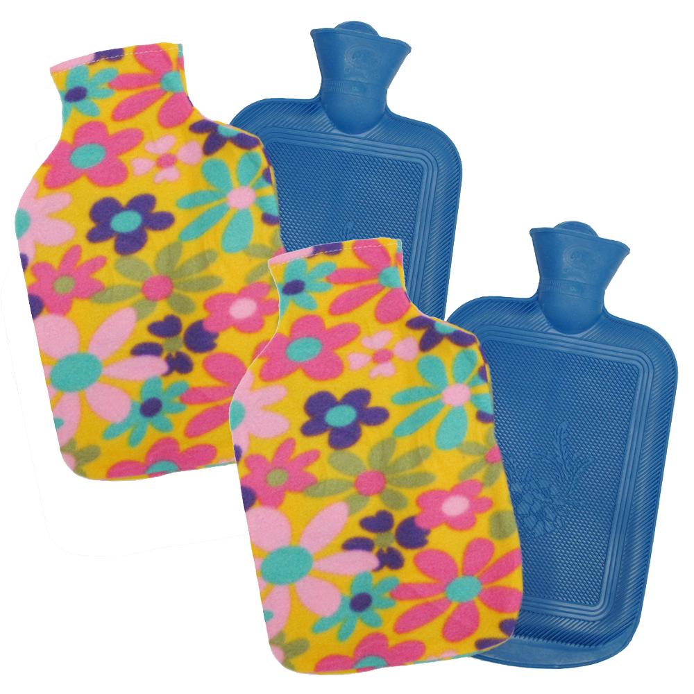 月陽超值2入時尚花紋特大號冰熱兩用保暖水袋熱水袋送絨布套(00182)