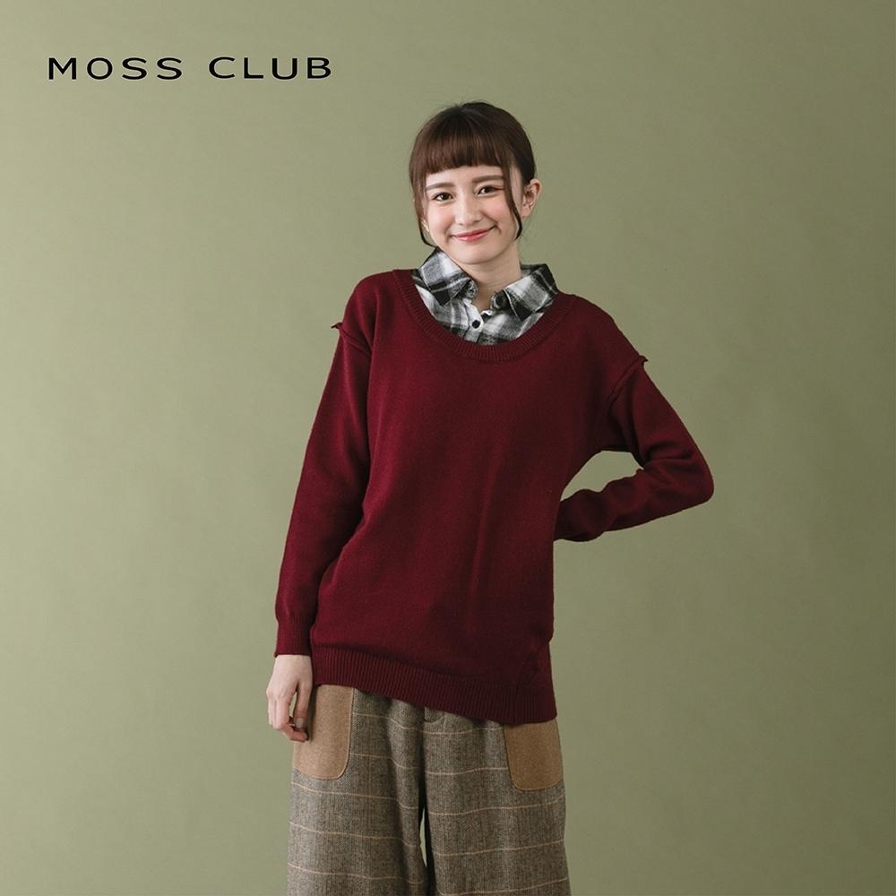 【MOSS CLUB】學院風襯衫領-針織衫(二色)