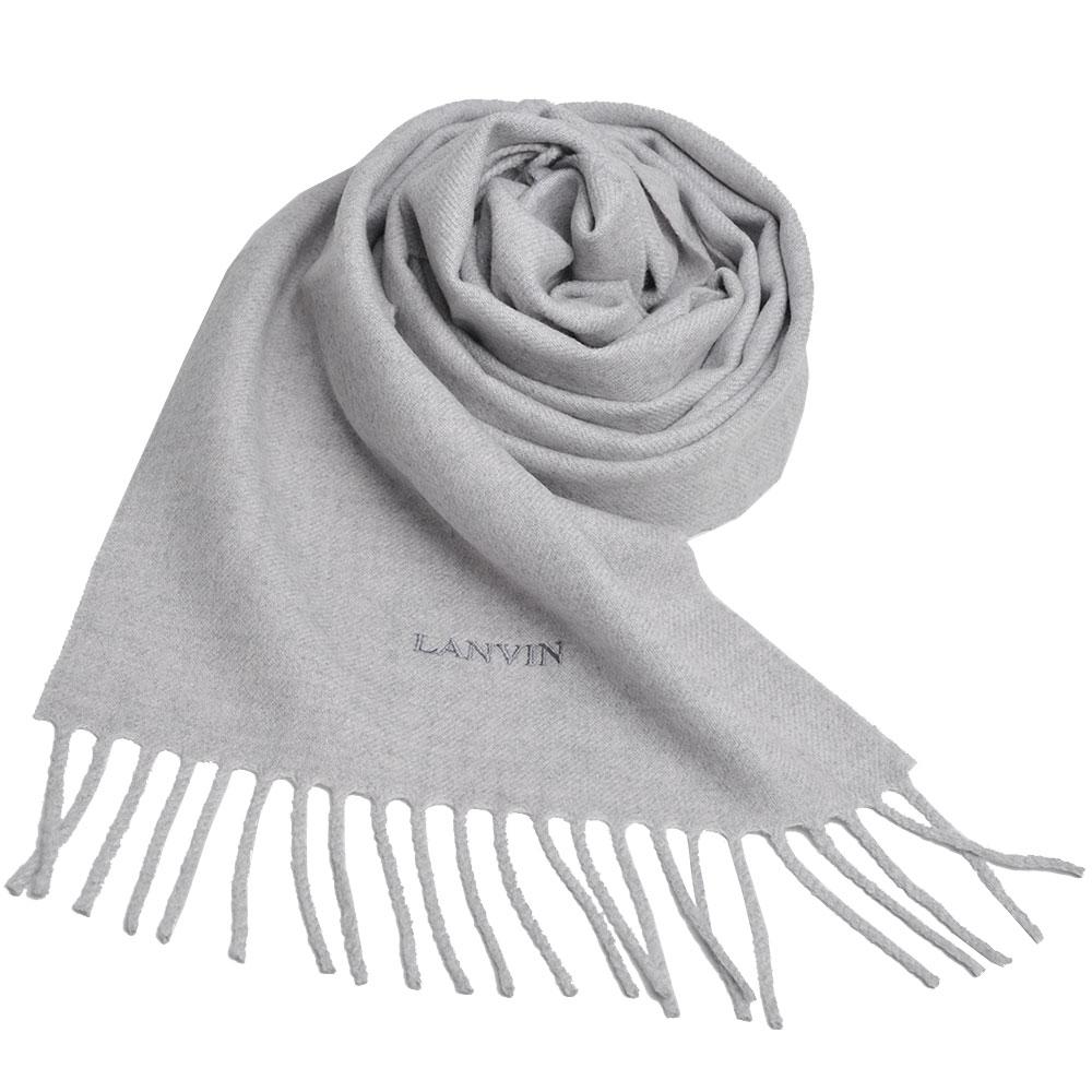 LANVIN 義大利製品牌字母LOGO刺 繡高質感羊毛圍巾(淺灰色)