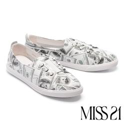 休閒鞋 MISS 21 簡約鉚釘釦點綴牛皮厚底休閒鞋-美金幣